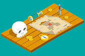 Isometric Pirate Treasure Adventure Game RPG Map Action Knife dagger