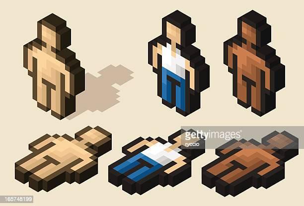 bildbanksillustrationer, clip art samt tecknat material och ikoner med isometric pixel character - naket