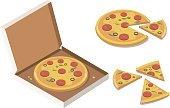 Isometric Pizza in the opened cardboard box, tasty whole pizza, slices.