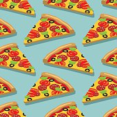 Isometric Pizza seamless pattern. Italian food texture. Deliciou