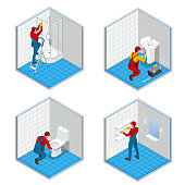 Isometric plumber or worker with tool belt standing in bathroom set concepts. Bath room repair isometric vector composition.