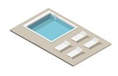 Isometric pool and swimming isolated vector illustration elements