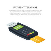 Isometric POS terminal confirms the payment by debit credit card. Vector illustration