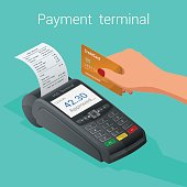 Isometric Pos terminal confirms the payment by debit credit card