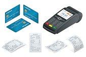 Isometric POS Terminal, debit credit card, Sales printed receipt.