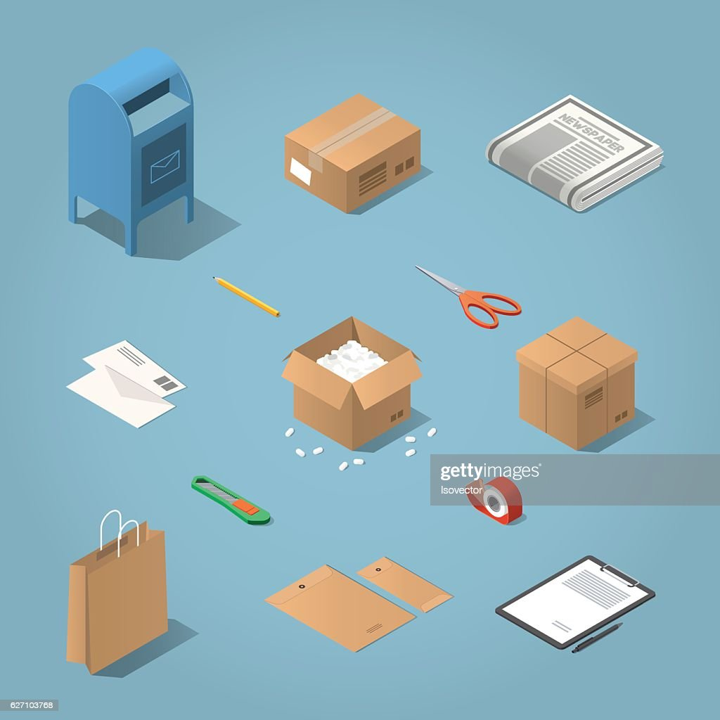Isometric postal delivery illustration