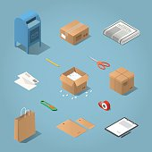 Isometric postal delivery illustration