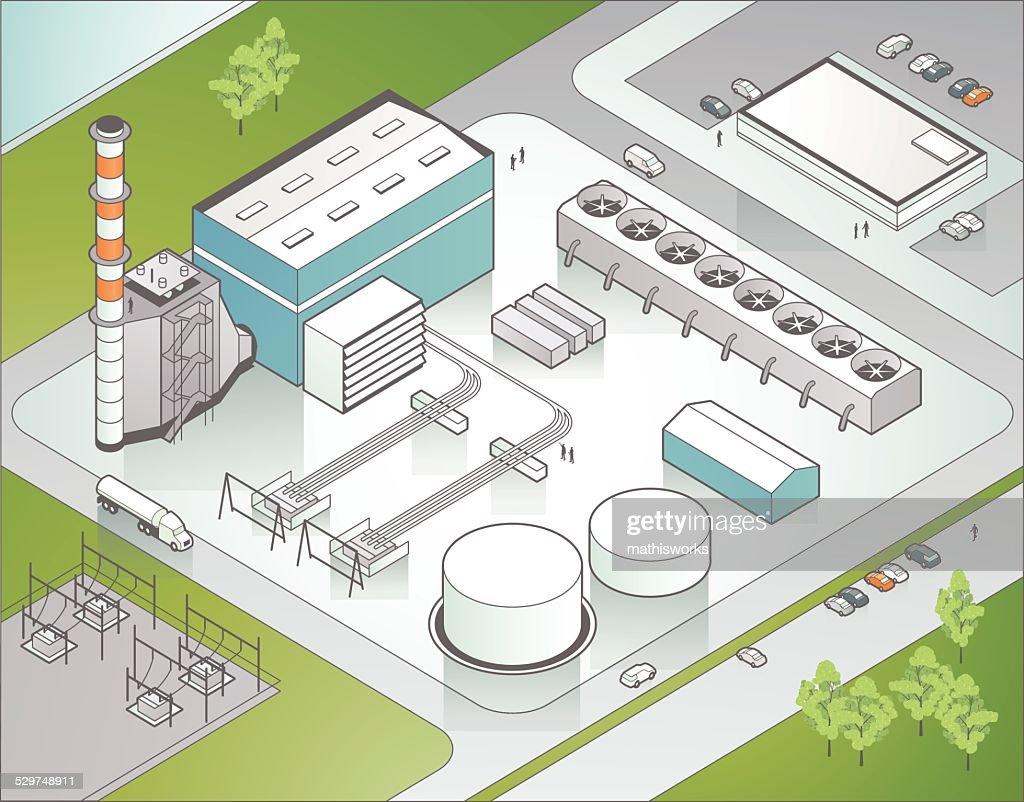 Isometric Power Plant Illustration Vector Art Getty Images Gas Diagram