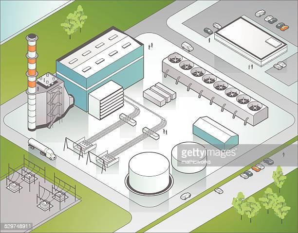Isometric Power Plant Illustration