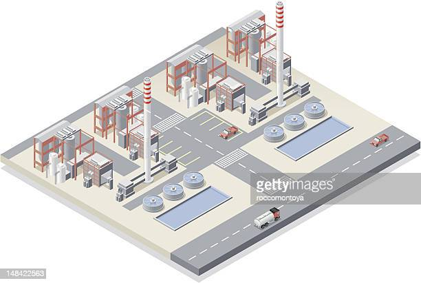 isometric, power station - fuel station stock illustrations, clip art, cartoons, & icons