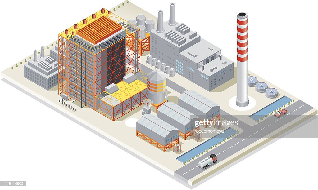 Isometric, Power Station : stock illustration