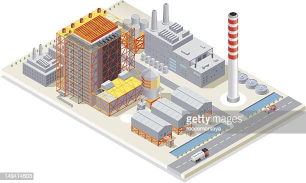 illustrazioni stock, clip art, cartoni animati e icone di tendenza di isometrica, power station - industria