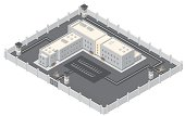 Isometric Prison Building.