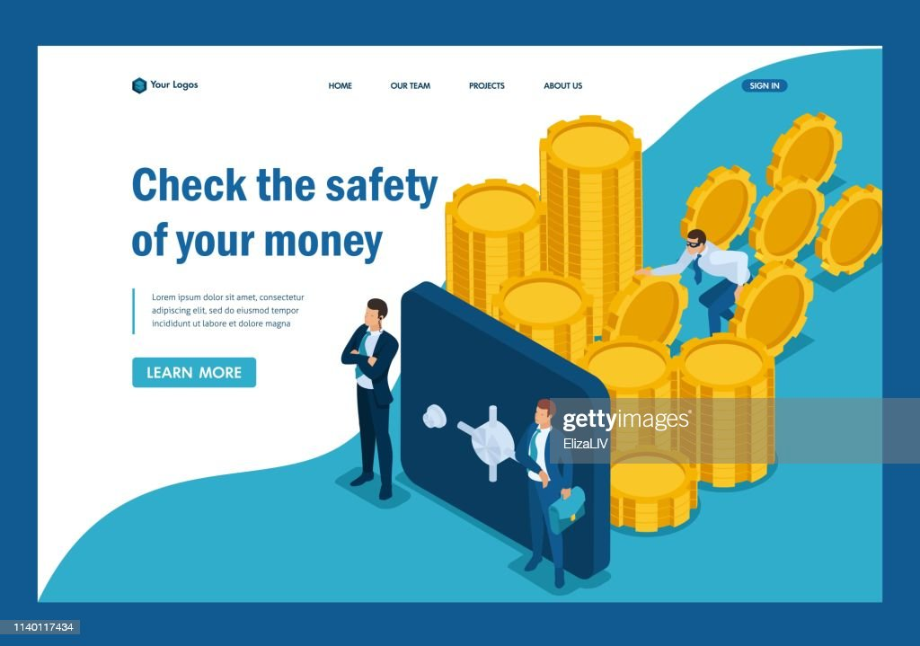 Isometric Protect your funds from external threats, theft. Template Landing page