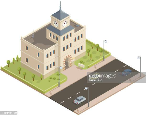 isometric public building with clock tower - town hall government building stock illustrations