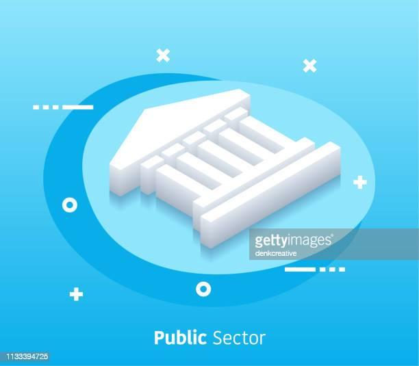 illustrations, cliparts, dessins animés et icônes de bannière web vectorielle isométrique du secteur public et graphisme - libre de droit
