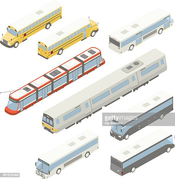 isometric public transit illustration - mathisworks vehicles stock illustrations
