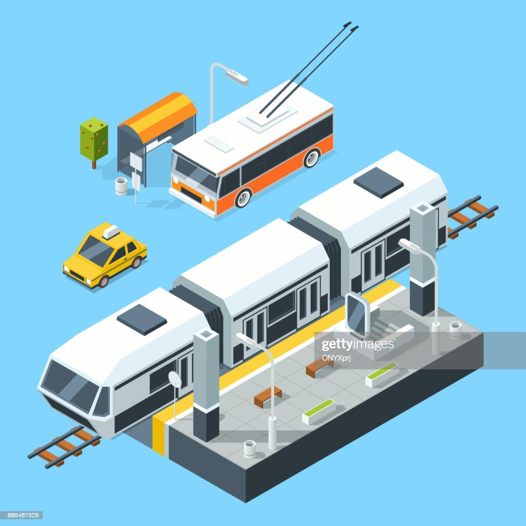 Isometric public transport stations. Bus and train. City road and rails. Vector illustrations isolate on white background