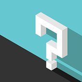 Isometric question mark, wall