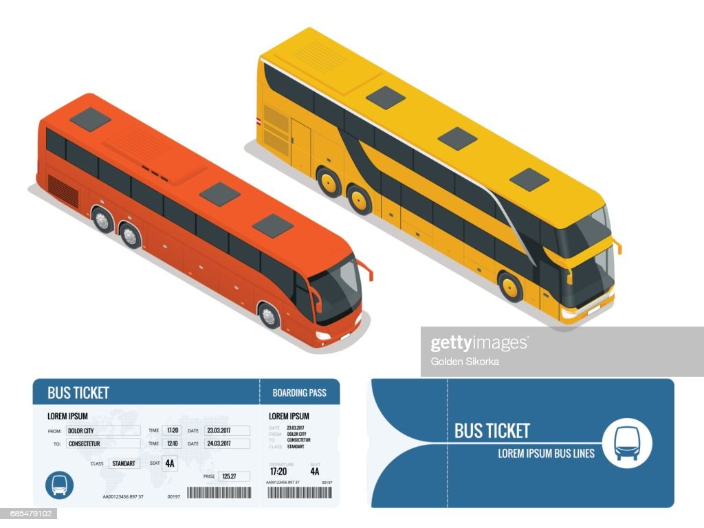 Isometric realistic bus and boarding pass ticket template design isolated on white background. Travel around the world and countries. Recreation and entertainment. Business trip. Vector illustration