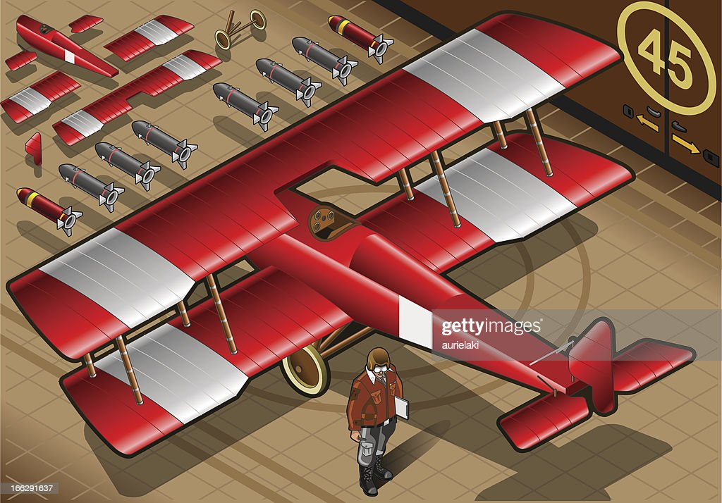 Isometric Red Biplane Landed in Rear View
