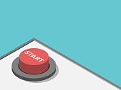 Isometric red start button