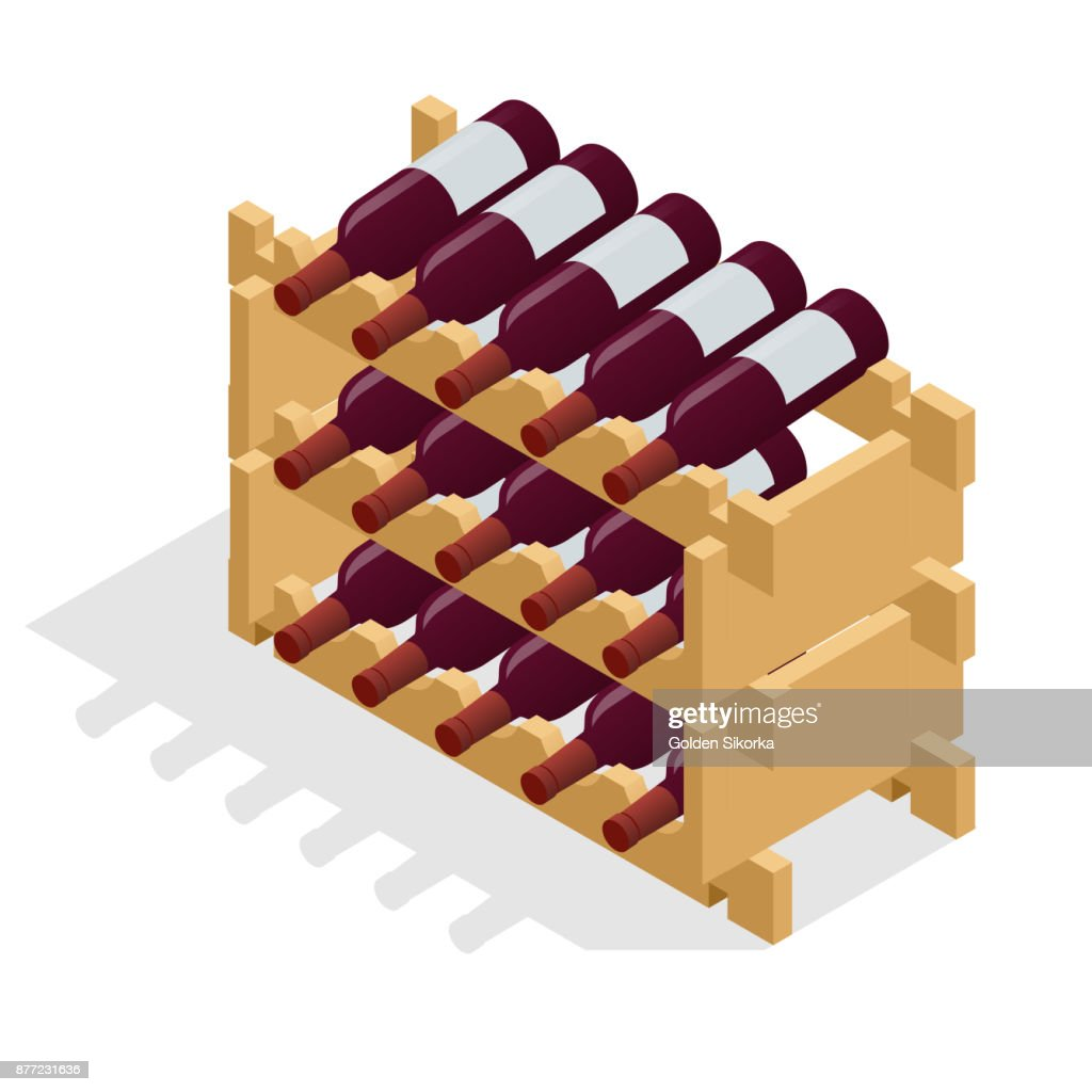 Isometric Red wine bottles stacked on wooden racks. Vector illustration isolated on white background