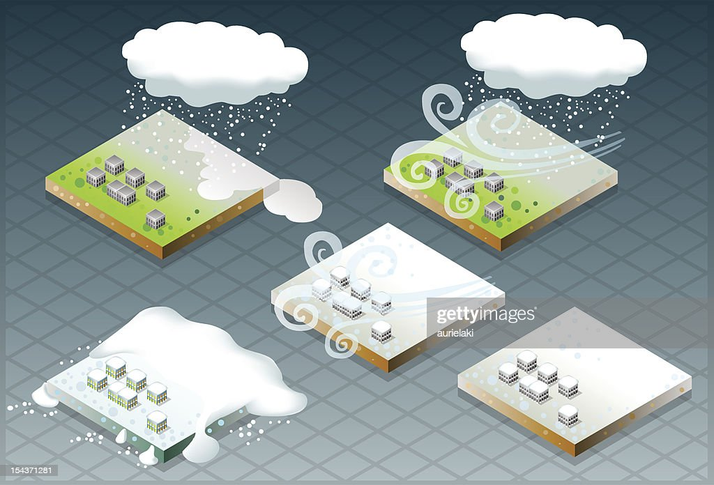 isometric representation of natural disaster snow capped