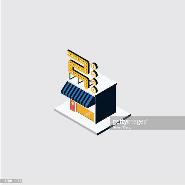 isometric retro shop building - store sign stock illustrations