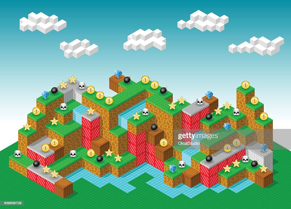 Isometric Retro-Looking 3D Platformer Computer Game : stock illustration