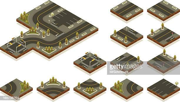 ilustrações, clipart, desenhos animados e ícones de isometric road kit de ferramentas-rua da cidade - rua