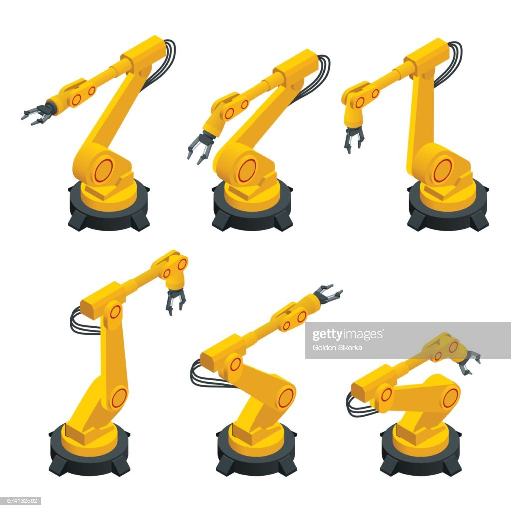 Isometric robotic arm, hand, industrial robot flat vector icons set. Robotics Industry Insights. Automotive and electronics are top industry sectors for robotics use. Flat 3d vector illustration