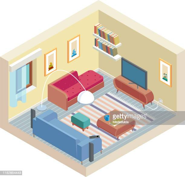 isometric room - house interior stock illustrations, clip art, cartoons, & icons