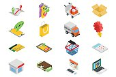Isometric sale icons set