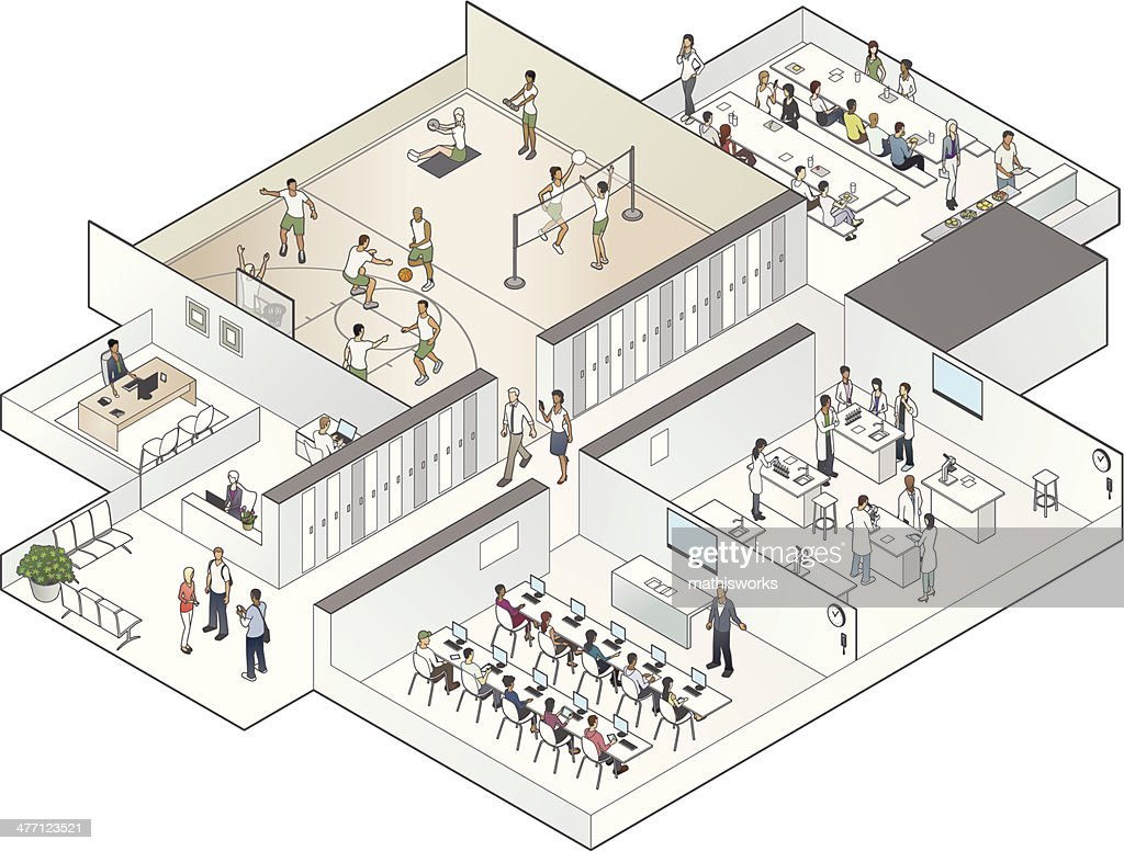 Isometric School Cutaway Illustration : stock illustration