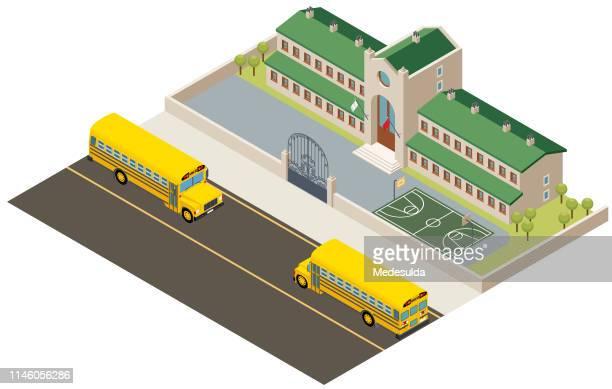 ilustraciones, imágenes clip art, dibujos animados e iconos de stock de escuela isométrica - edificio de escuela primaria