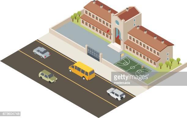 ilustraciones, imágenes clip art, dibujos animados e iconos de stock de isométricos de la escuela - edificio de escuela primaria