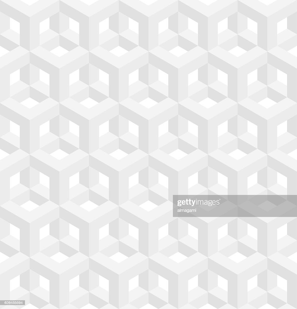 Isometric seamless pattern. Molecular structure background.