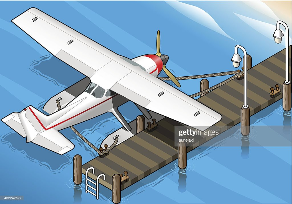 Isometric Seaplane Moored at the Pier in Rear View