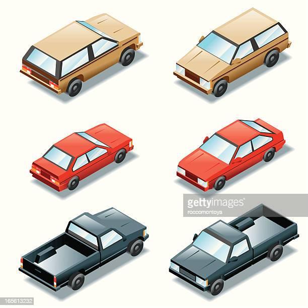isometric set, cars - sedan stock illustrations, clip art, cartoons, & icons