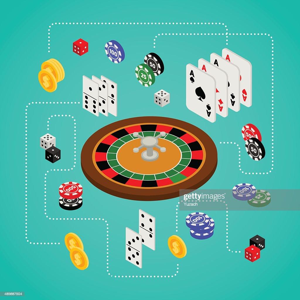 Isometric set of gambling and casino items