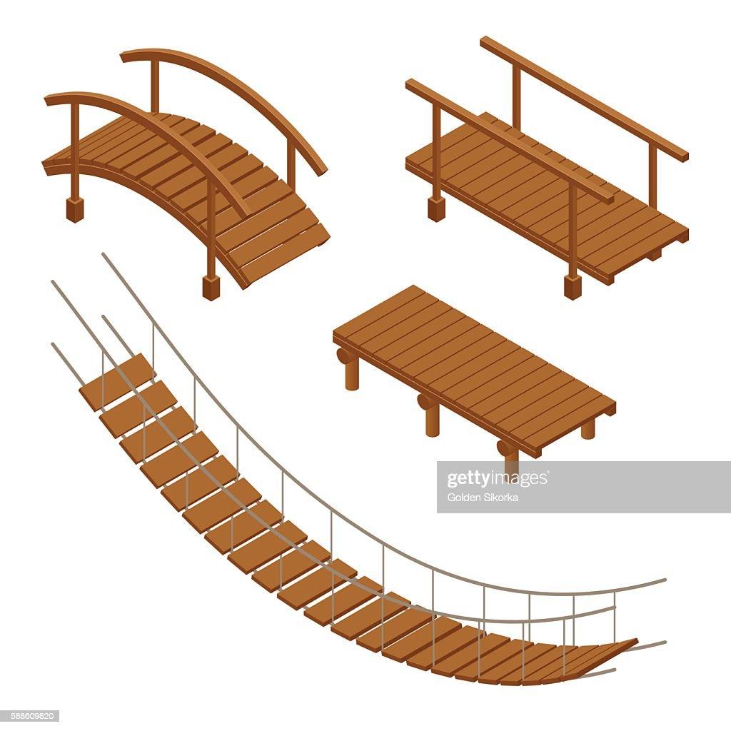 isometric set of Hanging wooden bridge