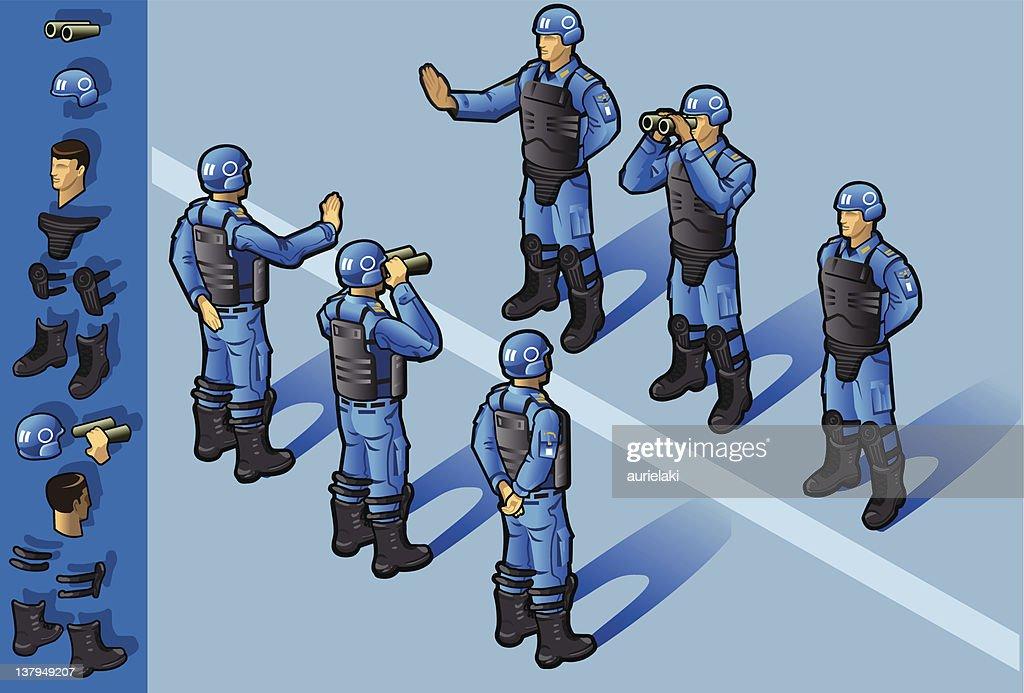 isometric set of military peacekeepers