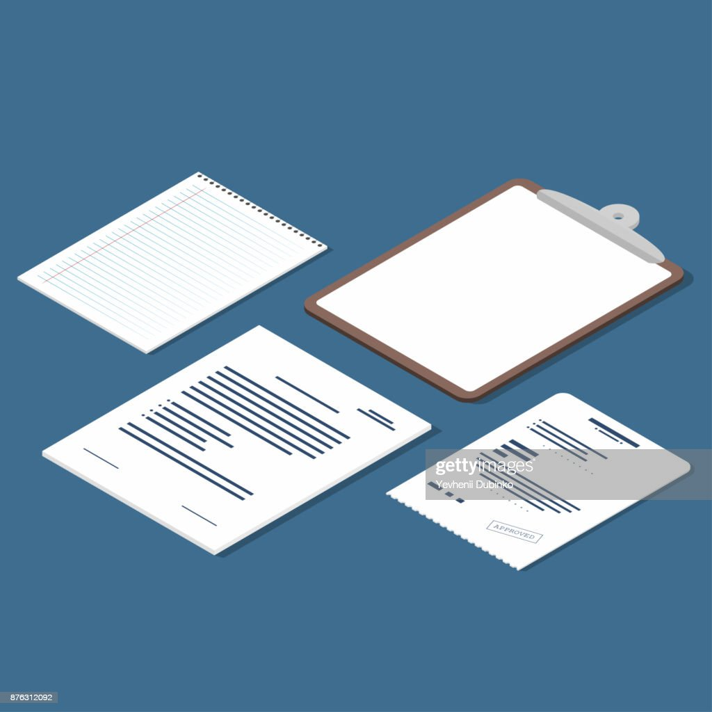 Isometric set of receipt, contract, clipboard, blank lined paper sheet. Official documents icons