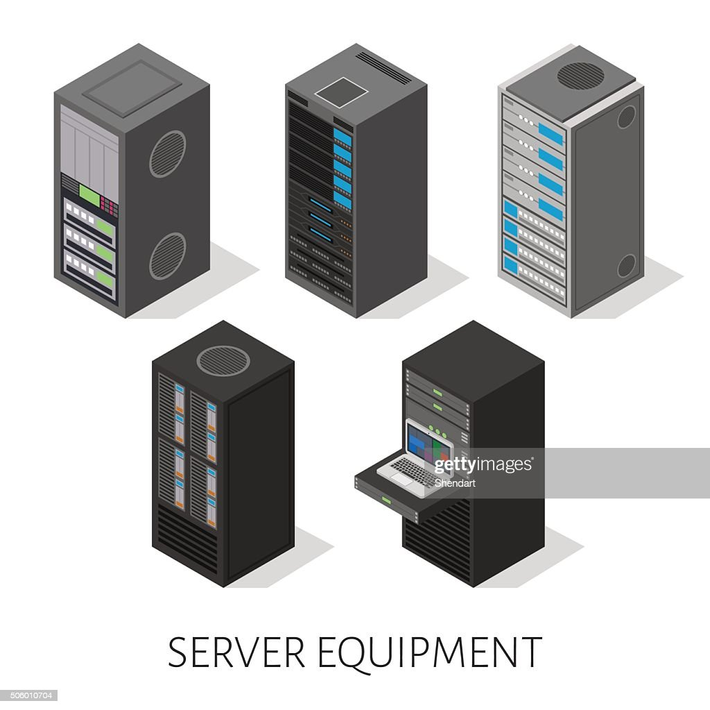 isometric set server equipment isolated background