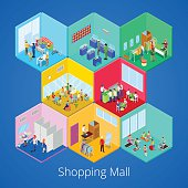 Isometric Shopping Mall Interior with Boutique, Gym Club, Clothes Store
