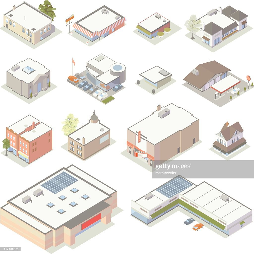 Isometric Shops and Businesses Illustration : stock illustration