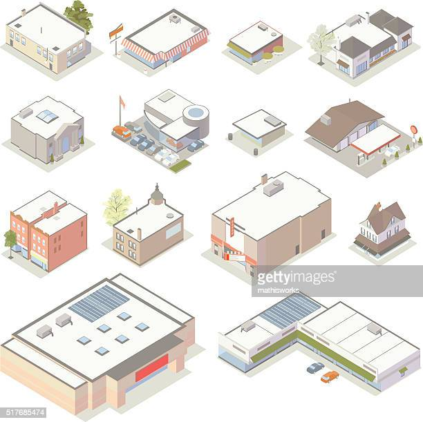 isometric shops and businesses illustration - mathisworks architecture stock illustrations