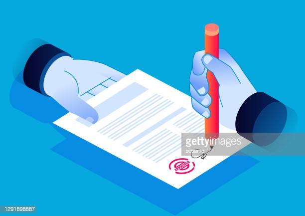 契約のアイソメトリック署名、署名付き文書、ビジネス金融契約または契約 - 証書点のイラスト素材/クリップアート素材/マンガ素材/アイコン素材