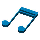 Isometric sixteenth musical note. Beamed note